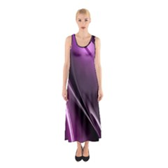 Purple Fractal Mathematics Abstract Sleeveless Maxi Dress