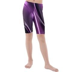 Purple Fractal Mathematics Abstract Kids  Mid Length Swim Shorts
