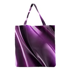 Purple Fractal Mathematics Abstract Grocery Tote Bag