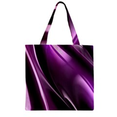 Purple Fractal Mathematics Abstract Zipper Grocery Tote Bag
