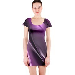 Purple Fractal Mathematics Abstract Short Sleeve Bodycon Dress