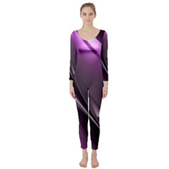 Purple Fractal Mathematics Abstract Long Sleeve Catsuit