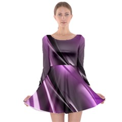 Purple Fractal Mathematics Abstract Long Sleeve Skater Dress
