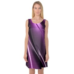 Purple Fractal Mathematics Abstract Sleeveless Satin Nightdress