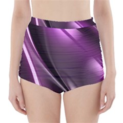 Purple Fractal Mathematics Abstract High Waisted Bikini Bottoms