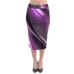 Purple Fractal Mathematics Abstract Midi Pencil Skirt