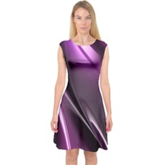 Purple Fractal Mathematics Abstract Capsleeve Midi Dress