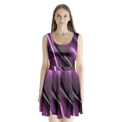 Purple Fractal Mathematics Abstract Split Back Mini Dress
