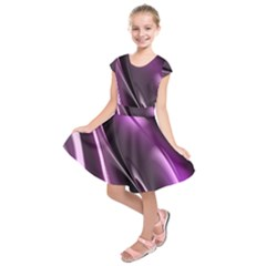 Purple Fractal Mathematics Abstract Kids  Short Sleeve Dress