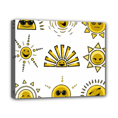 Sun Expression Smile Face Yellow Canvas 10  x 8