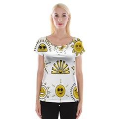 Sun Expression Smile Face Yellow Women s Cap Sleeve Top