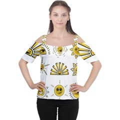 Sun Expression Smile Face Yellow Women s Cutout Shoulder Tee