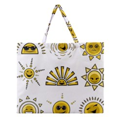 Sun Expression Smile Face Yellow Zipper Large Tote Bag