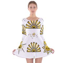 Sun Expression Smile Face Yellow Long Sleeve Velvet Skater Dress