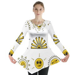 Sun Expression Smile Face Yellow Long Sleeve Tunic