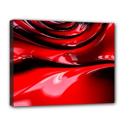 Red Fractal Mathematics Abstract Canvas 14  X 11
