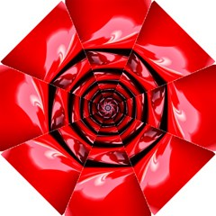Red Fractal Mathematics Abstract Hook Handle Umbrellas (small)