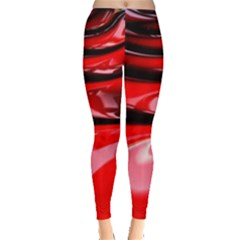 Red Fractal Mathematics Abstract Leggings