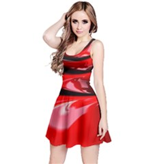 Red Fractal Mathematics Abstract Reversible Sleeveless Dress