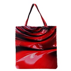 Red Fractal Mathematics Abstract Grocery Tote Bag