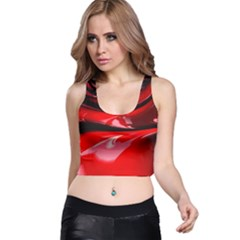 Red Fractal Mathematics Abstract Racer Back Crop Top