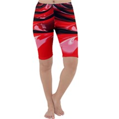 Red Fractal Mathematics Abstract Cropped Leggings