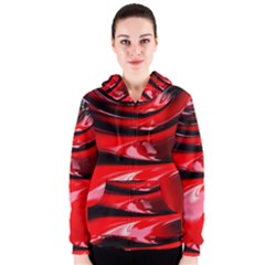 Red Fractal Mathematics Abstract Women s Zipper Hoodie