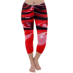 Red Fractal Mathematics Abstract Capri Winter Leggings