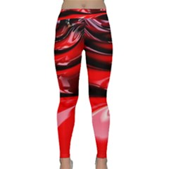 Red Fractal Mathematics Abstract Classic Yoga Leggings