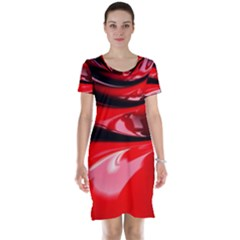 Red Fractal Mathematics Abstract Short Sleeve Nightdress