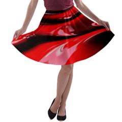 Red Fractal Mathematics Abstract A Line Skater Skirt