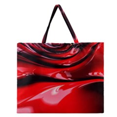 Red Fractal Mathematics Abstract Zipper Large Tote Bag