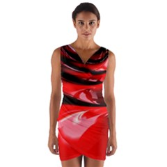 Red Fractal Mathematics Abstract Wrap Front Bodycon Dress