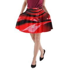 Red Fractal Mathematics Abstract A Line Pocket Skirt