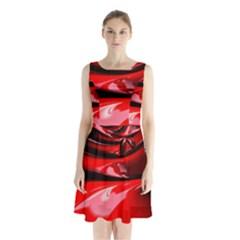 Red Fractal Mathematics Abstract Sleeveless Chiffon Waist Tie Dress
