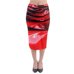 Red Fractal Mathematics Abstract Midi Pencil Skirt