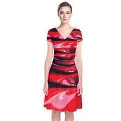 Red Fractal Mathematics Abstract Short Sleeve Front Wrap Dress