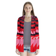 Red Fractal Mathematics Abstract Cardigans