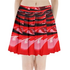 Red Fractal Mathematics Abstract Pleated Mini Skirt