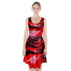 Red Fractal Mathematics Abstract Racerback Midi Dress