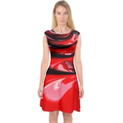 Red Fractal Mathematics Abstract Capsleeve Midi Dress