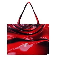 Red Fractal Mathematics Abstract Medium Zipper Tote Bag
