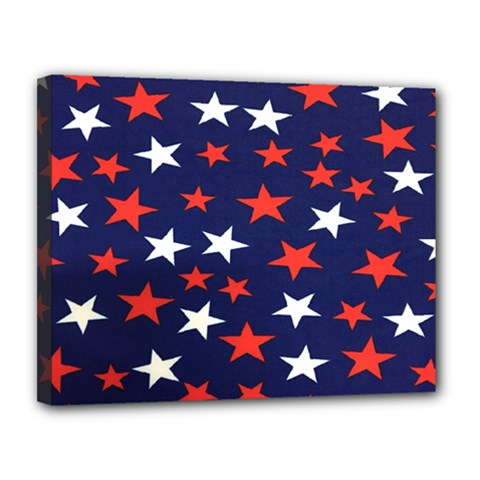 Star Red White Blue Sky Space Canvas 14  x 11