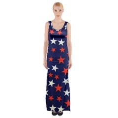 Star Red White Blue Sky Space Maxi Thigh Split Dress