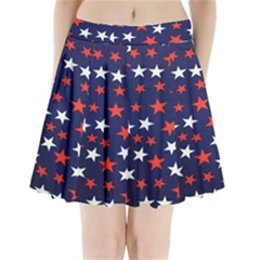 Star Red White Blue Sky Space Pleated Mini Skirt