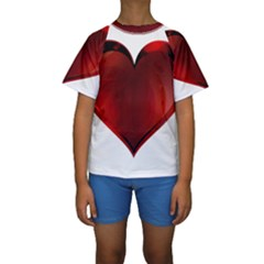 Heart Gradient Abstract Kids  Short Sleeve Swimwear
