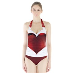 Heart Gradient Abstract Halter Swimsuit