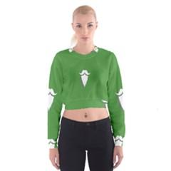 The Dude Beard White Green Women s Cropped Sweatshirt