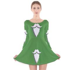 The Dude Beard White Green Long Sleeve Velvet Skater Dress