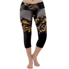Fractal Mathematics Abstract Capri Yoga Leggings